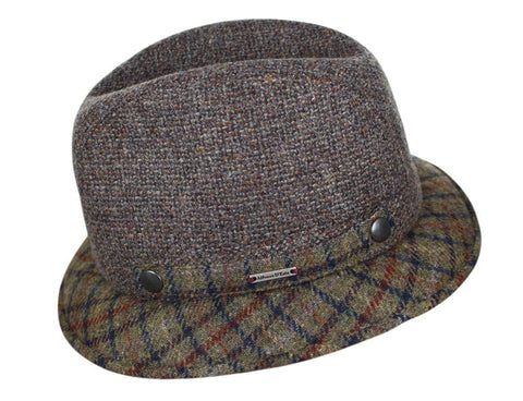 2e5294f1835 Taupe Tweed with Plaid Brim ...