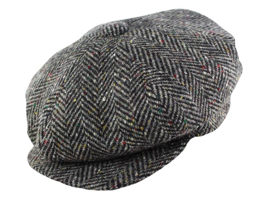 Grey and Brown Herringbone Tweed