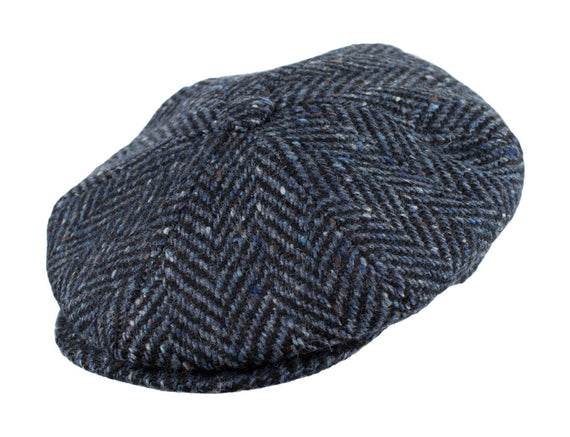 Blue and Black Herringbone Tweed