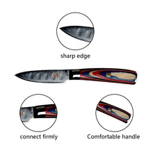 Load image into Gallery viewer, XYj Damascus Kitchen Cooking Knives Fruit Knife Japanese DamascusKitchen Knife VG10 67 Layer Ultra Sharp Colorful Wood Handle