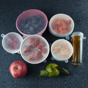 Silicone Stretch Lids Universal Lids 6pcs/set Food Fresh Storage Stretch Covers for Fruit,Cup,Bowl,Dish