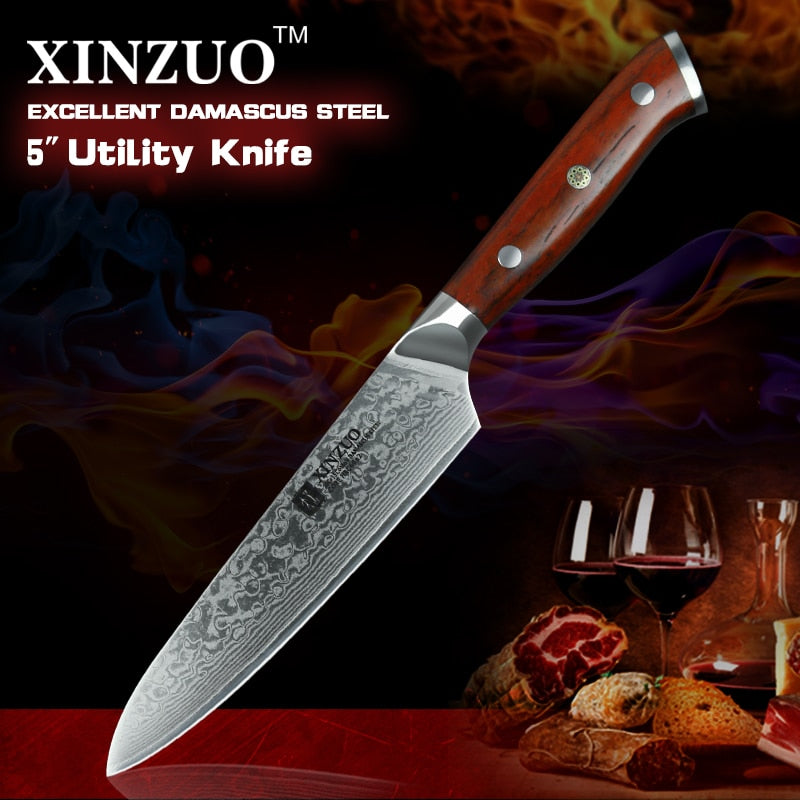 XINZUO 5'' inch Utility Knives Handmade Japan VG10 Damascus Steel Kitchen Knife Rosewood Handle Top Selling Fruit Cooking Knife
