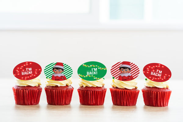 Elf on the Shelf - I'm Back printed cupcake toppers