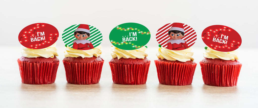 Elf on the Shelf I'm Back edible cupcake toppers