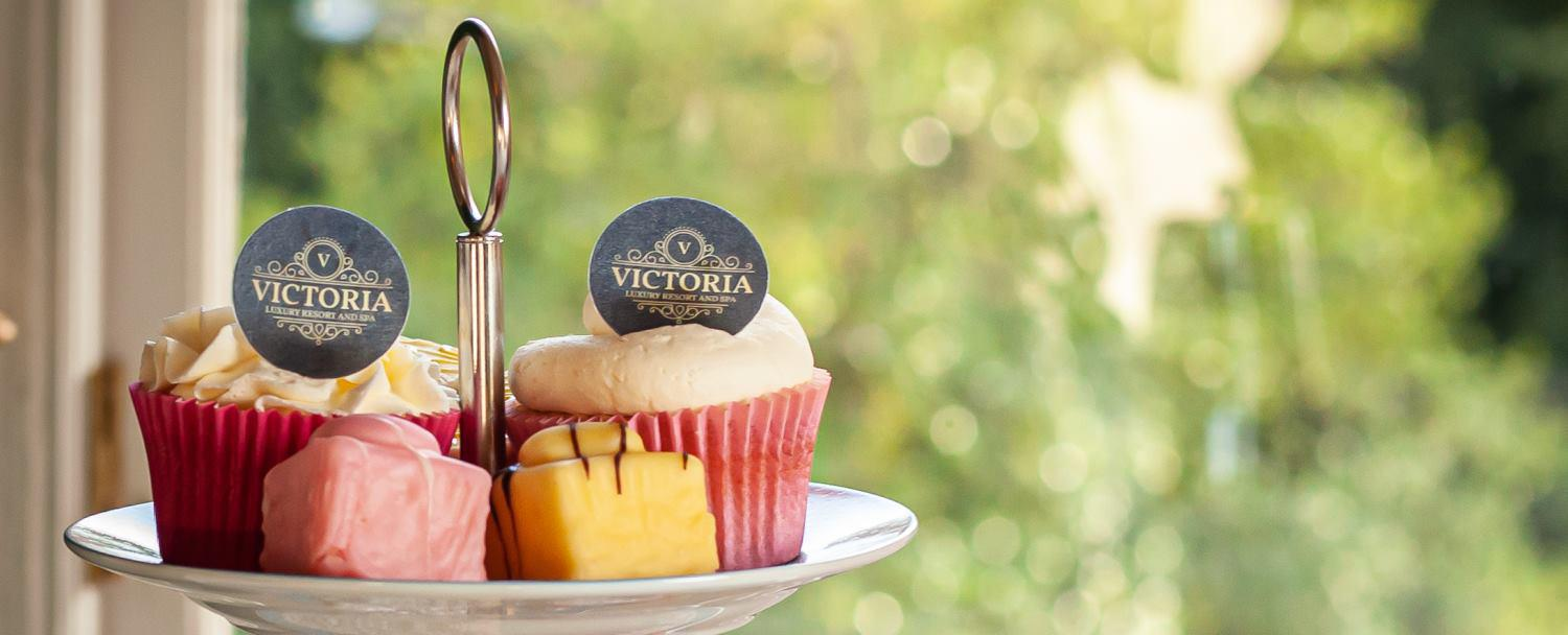 Afternoon tea with branded cupcakes