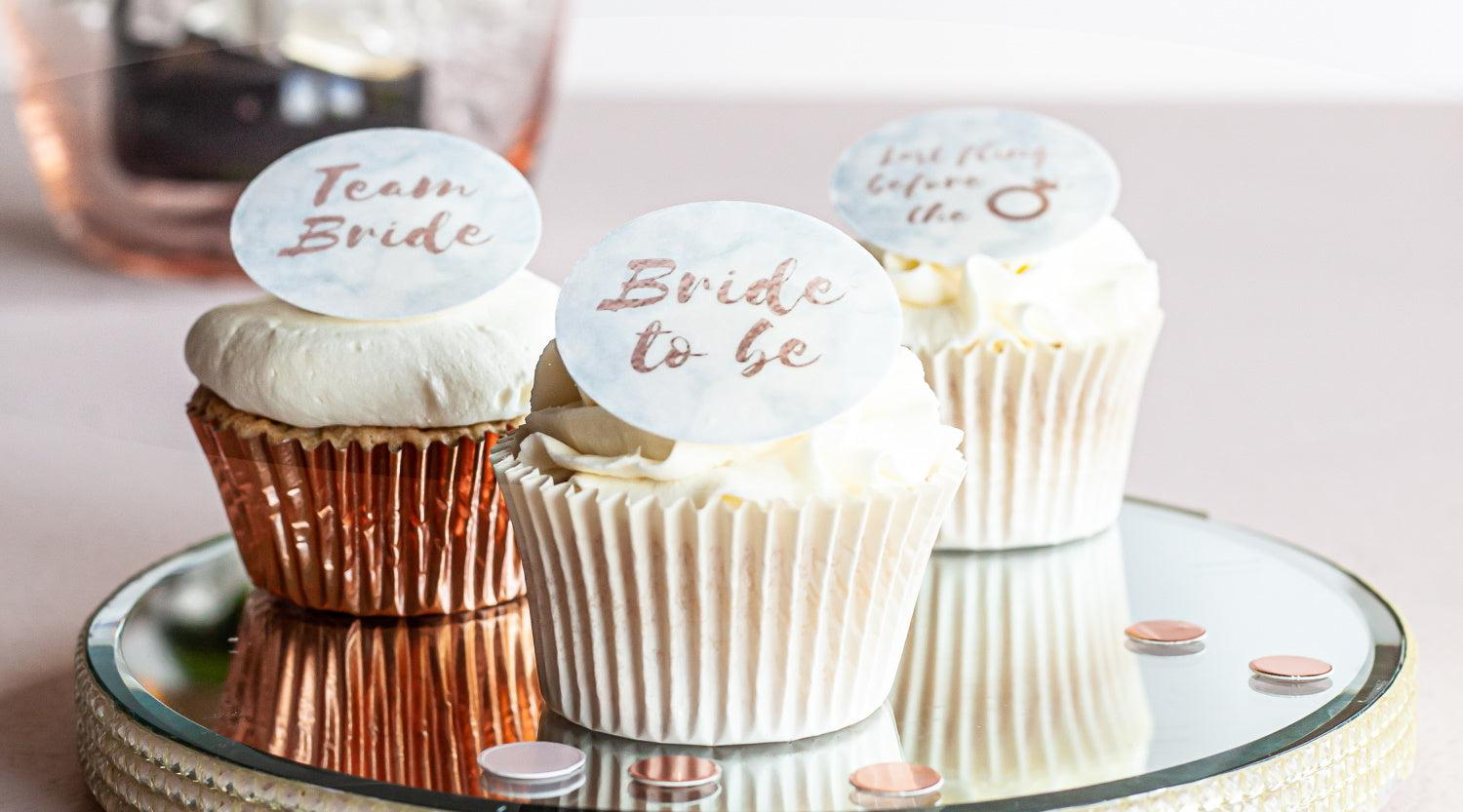 Predesigned edible cupcake toppers with Bride to Be and Team Bride messages