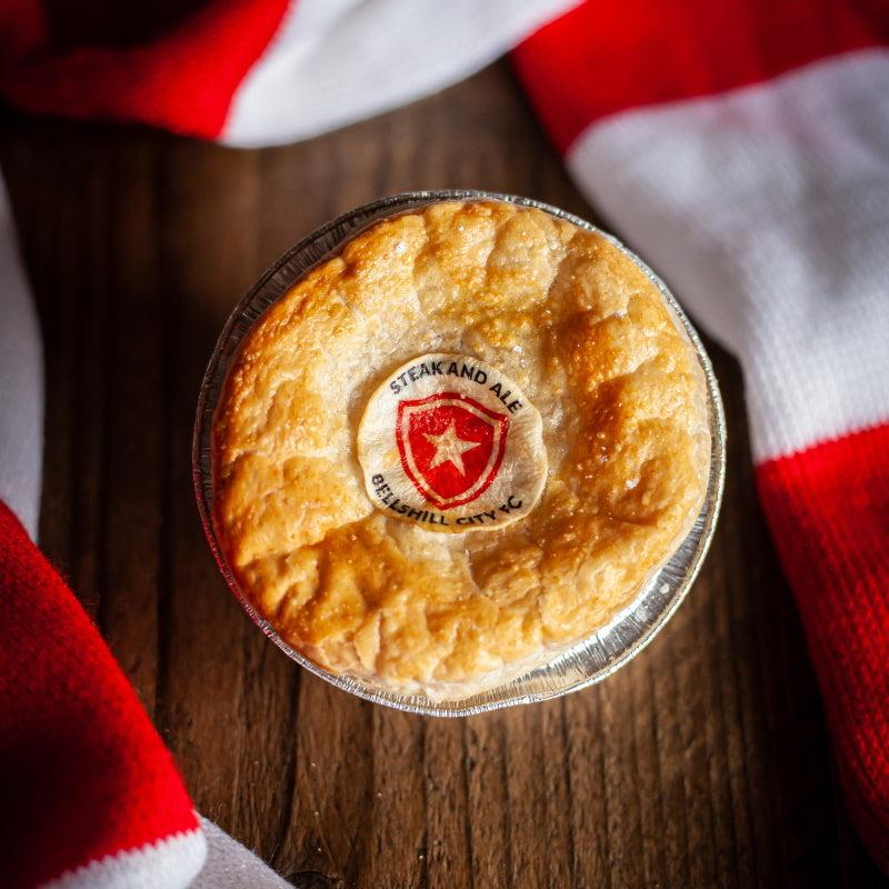 Football pie with branded logo