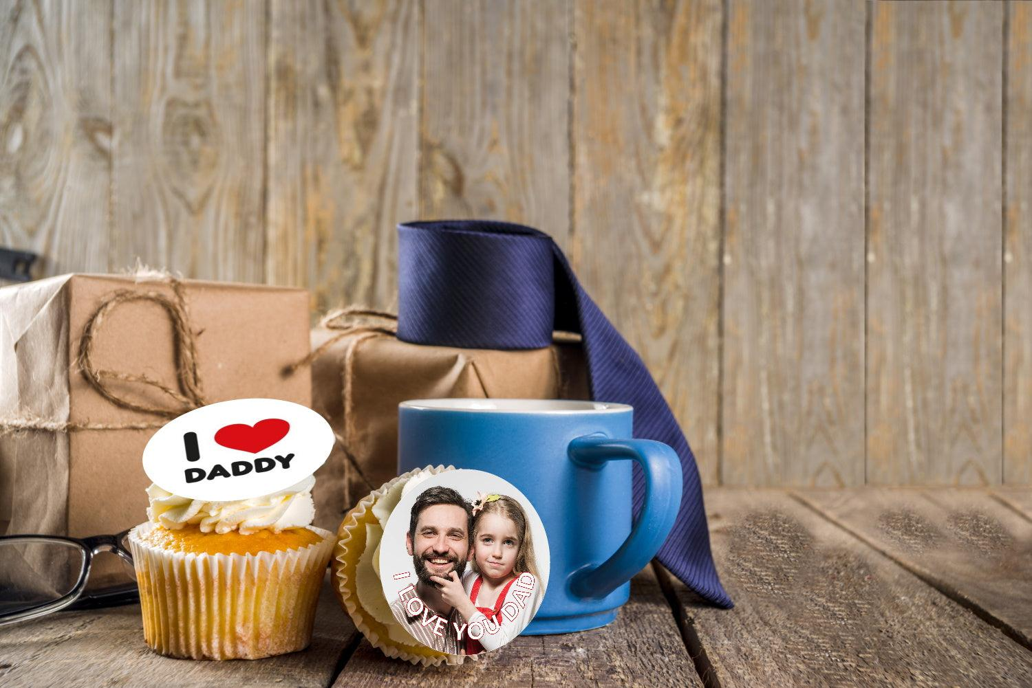 I love you dad personalised fathers day cupake toppers