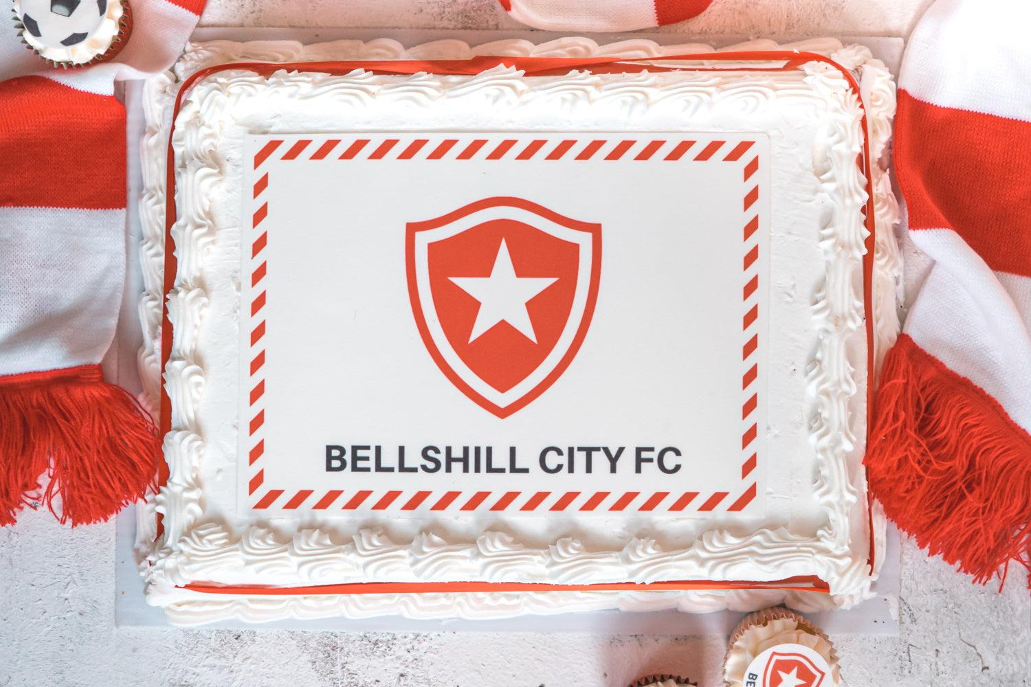 A4 edible cake topper personalised with a football badge