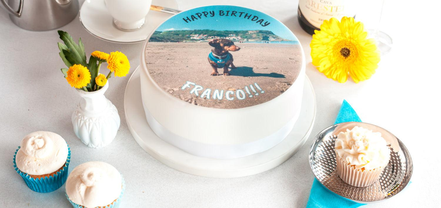 190mm round edible cake topper printed on rice paper or icing for a celebration cake