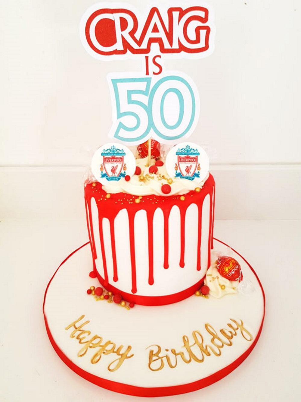 Liverpool FC themed birthday cake topper