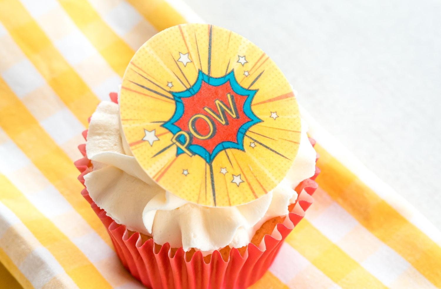 Birthday cupcake decorations with POW! superhero design