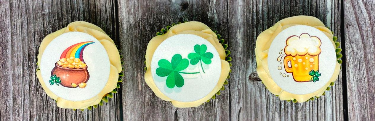 Pre-designed St Patrick's Day edible cupcake toppers