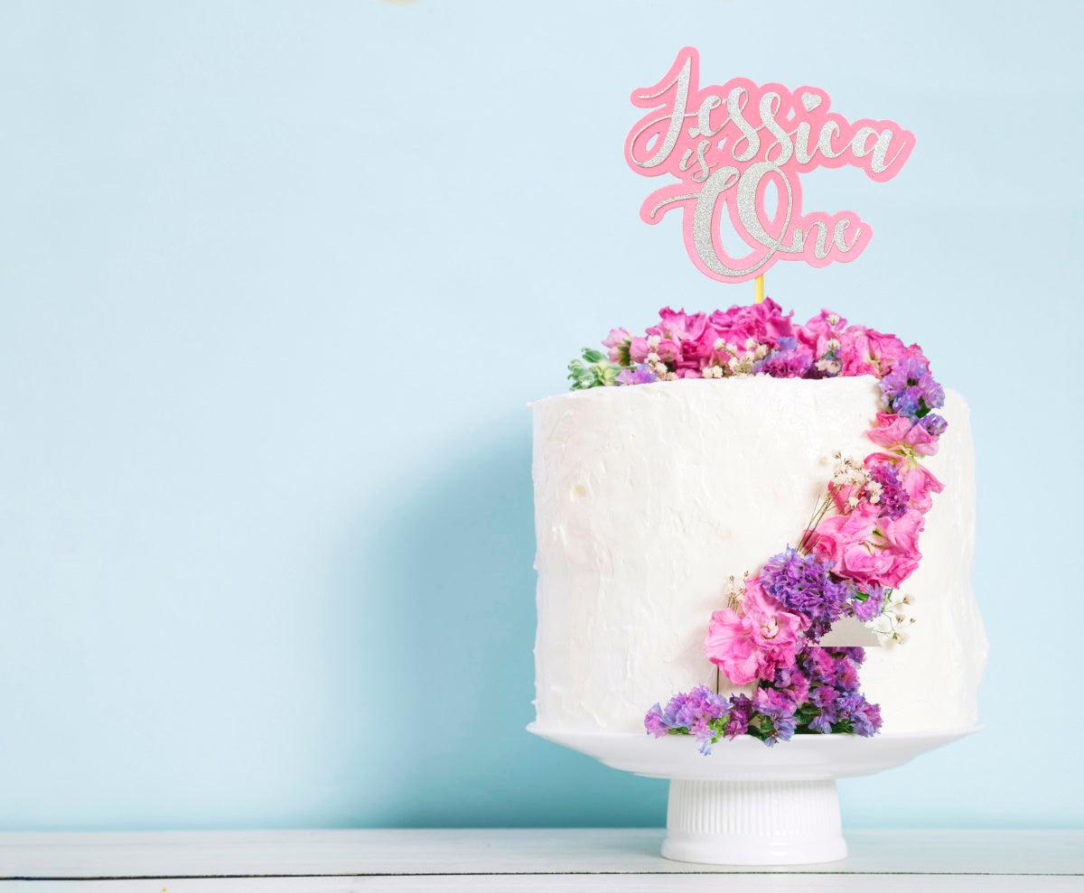 Personalised Glitter Cake topper for a First Birthday Cake