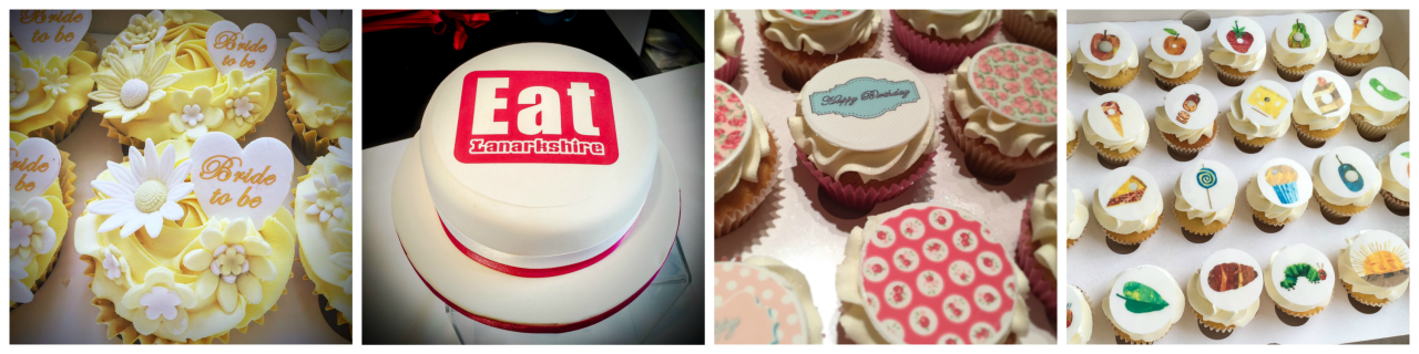 A selection of our cake toppers and cupcake toppers in action