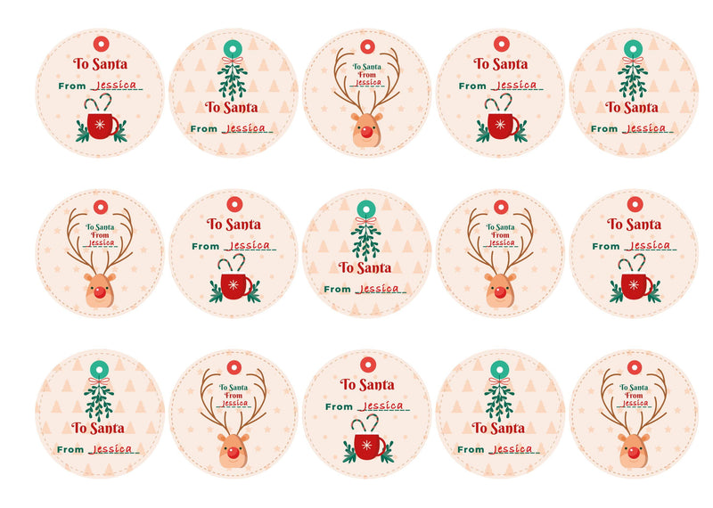 Personalised cupcake toppers with Christmas Eve designs