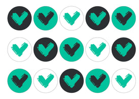 15 printed cupcake toppers with the Veganuary Green icon