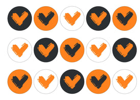 15 printed cupcake toppers with the Veganuary Orange icon