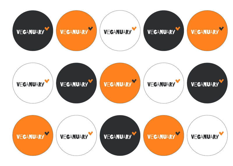 15 printed cupcake toppers with the Veganuary Orange logo