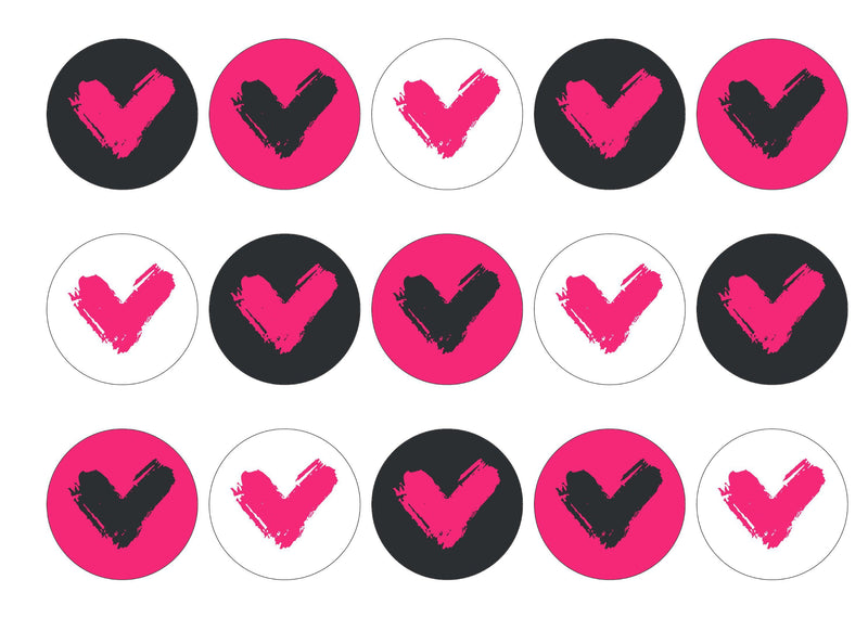 15 printed cupcake toppers with the pink icon for Veganuary