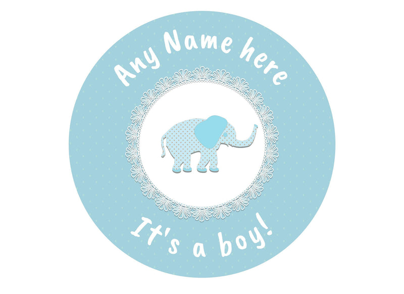 CUTE ELEPHANT CHRISTENING BABY BOY BLUE PRECUT EDIBLE BIRTHDAY CAKE TOPPER