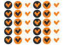 30 edible cupcake toppers with the Veganuary Orange icon