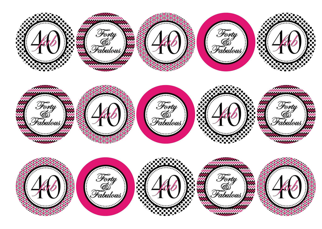30 pink and black cupcake toppers for a 40th birthday