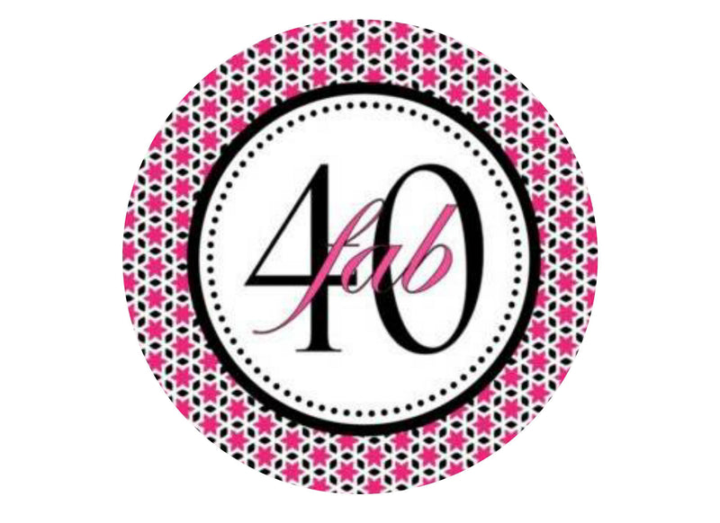 40th Birthday - Pink and Black-Edible cake toppers-Edibilis