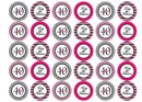 30 printed pink and black cupcake toppers for a fortieth birthday