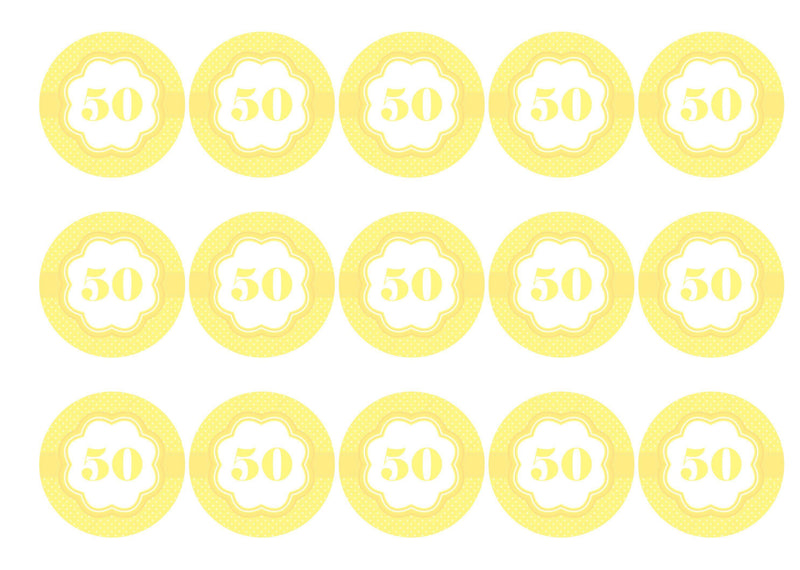 Printed cupcake toppers with a pale yellow/lemon 50th birthday image
