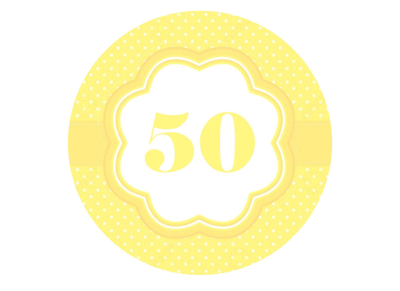 50th Birthday - Pale Yellow-Edible cake toppers-Edibilis