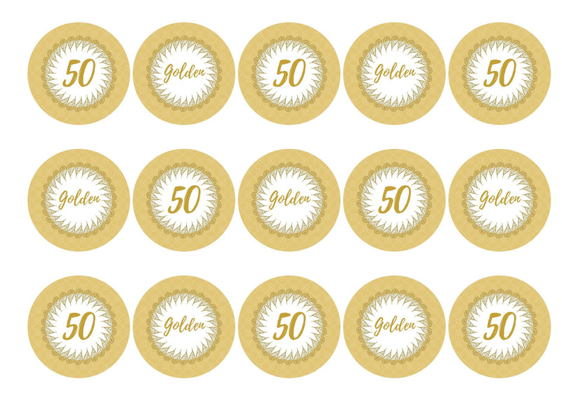50th Golden Wedding Anniversary-Edible cake toppers-Edibilis
