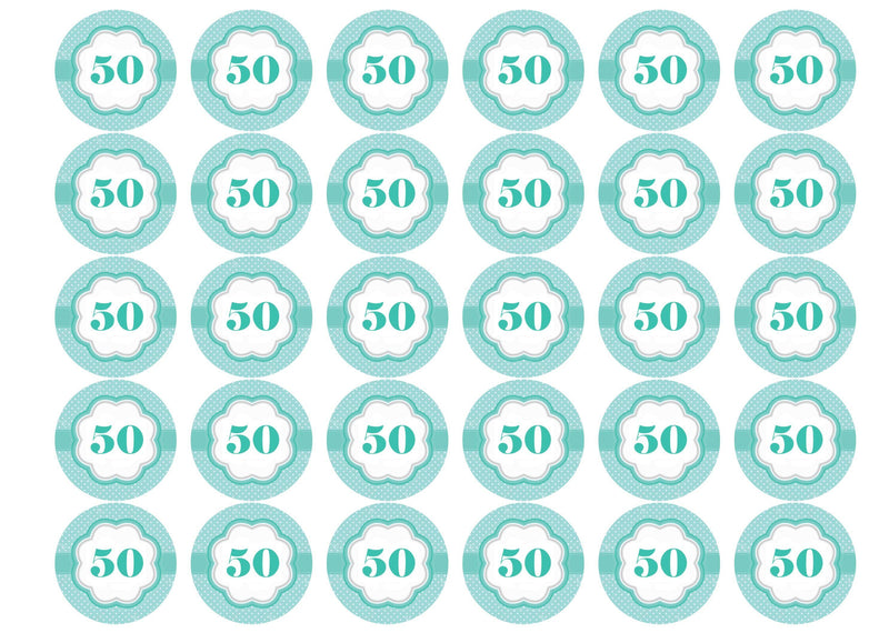 50th Birthday - Mint Green-Edible cake toppers-Edibilis