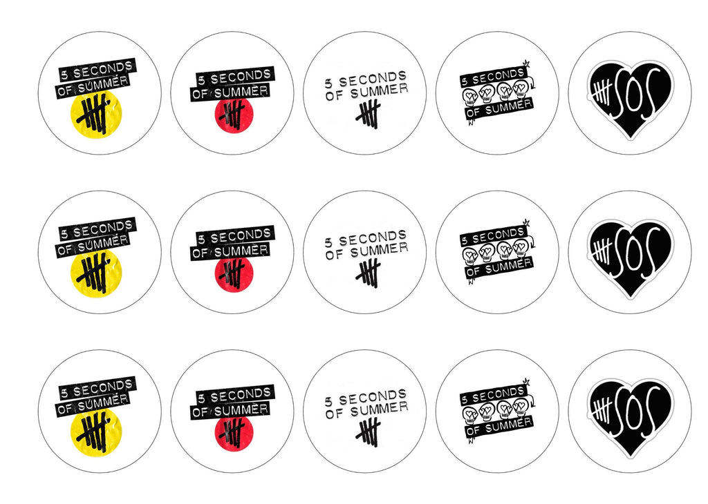 Edible printed cupcake toppers - 5 seconds of summer logos - icing or rice paper/personalised
