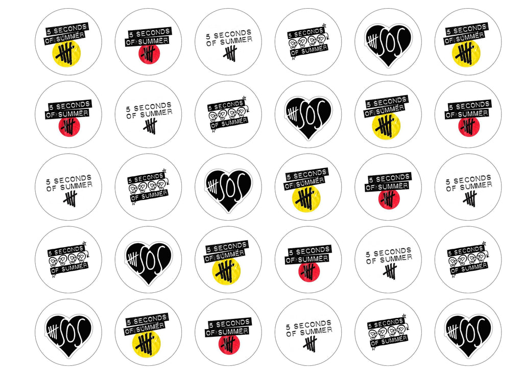 30 edible cupcake toppers with 5 Seconds of Summer 5SOS logos