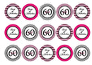 30 pink and black cupcake toppers for a 60th birthday