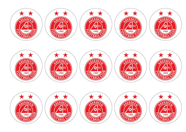 15 printed cupcake toppers with the Aberdeen FC logo