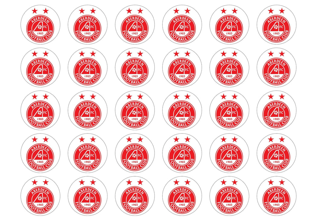 30 edible cupcake toppers with the Aberdeen FC logo