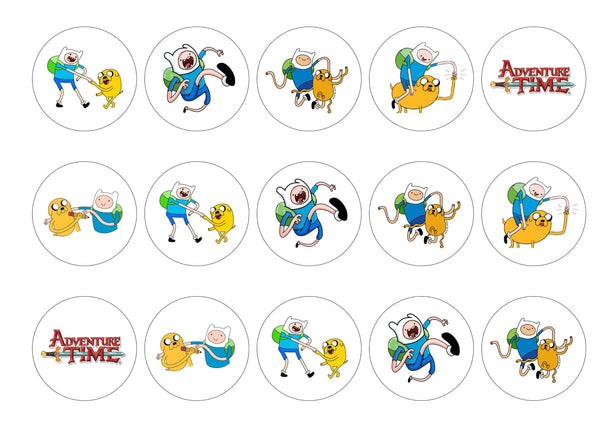 Edible printed icing or rice paper cupcake toppers with images from Adventure time