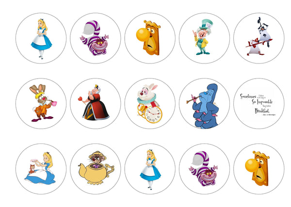 Printed edible cupcake toppers and cake toppers with images from the Disney Film Alice in Wonderland