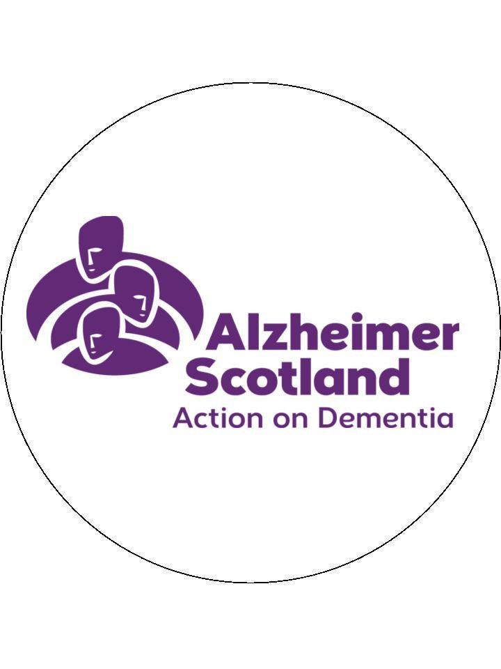 190mm printed edible cake topper is support of Alzheimer Scotland