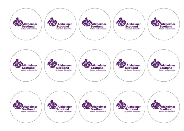 Printed edible cupcake toppers is support of Alzheimer Scotland