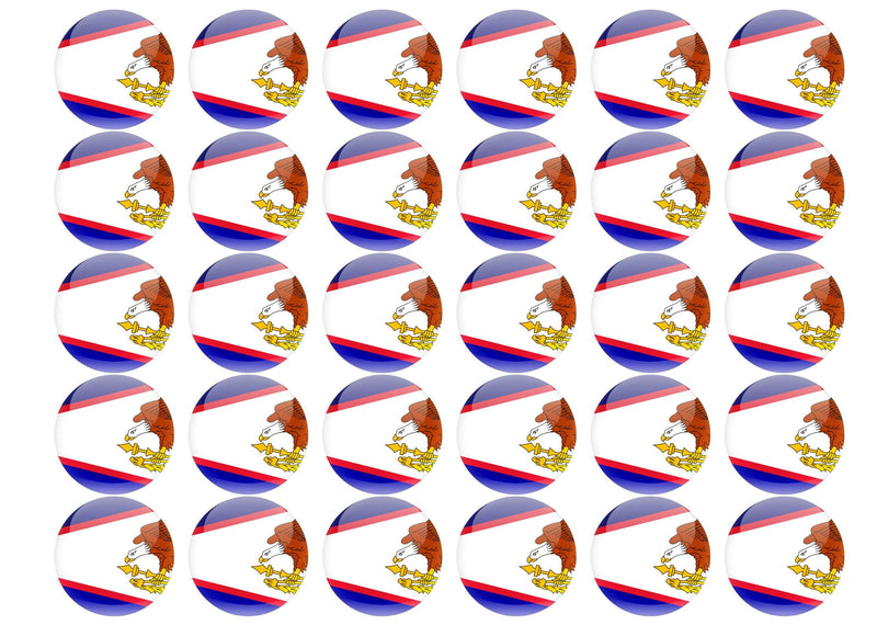 38mm printed edible cupcake toppers - American Samoa