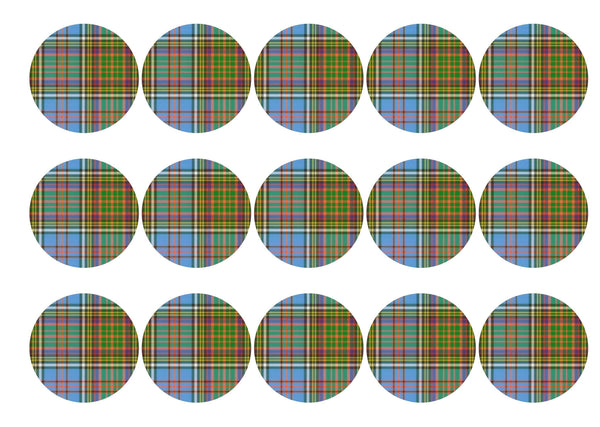 Edible cupcake toppers printed with the Anderson tartan
