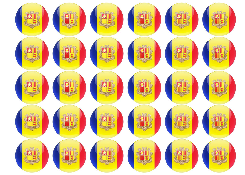 38mm printed edible cupcake toppers - Andorra