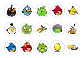 Printed edible cupcake toppers and cake toppers with images from Angry Birds