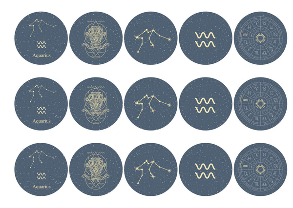 15 Aquaries themed zodiac cupcake toppers