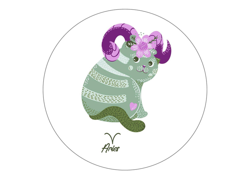 Large round cake topper for the starsign Aries with a cat design