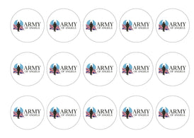 Edible printed cupcake toppers in support of Army of Angels.