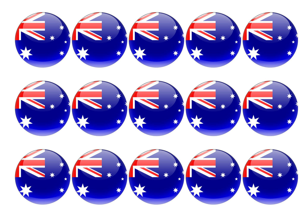 Printed edible cupcake toppers with Australian flag